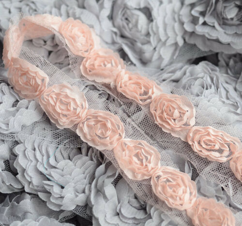 2 Yards Chiffon Rose Lace Trim Applique Bridal Wedding Tulle Tutu Dress US