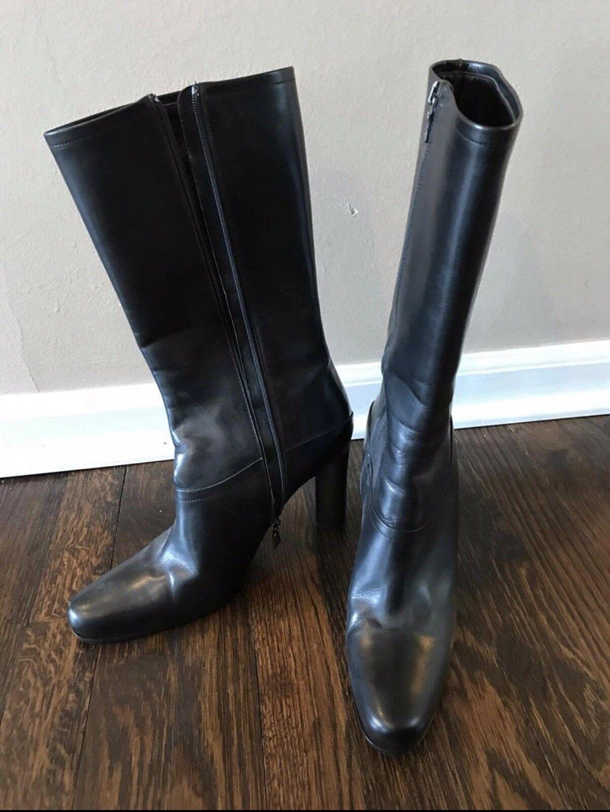 Cuero Negro botas De Prada 39 39 39  la red entera más baja