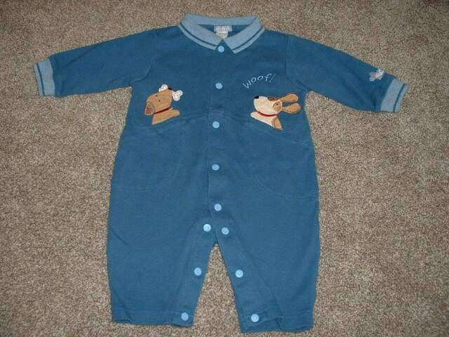 Carter's Baby Boys Dog Gone Cute Outfit Blue Size 3-6 months mos HTF Clothes