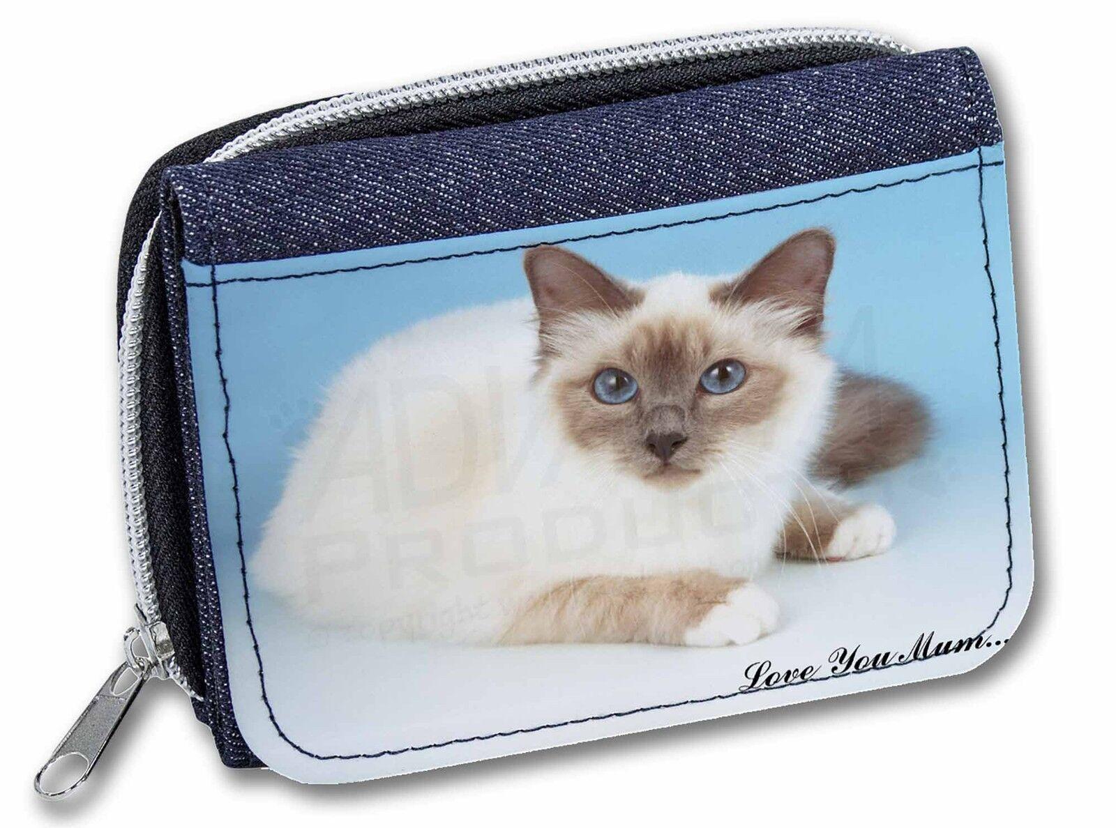 Birman Cat 'Love You Mum' Girls/Ladies Denim Purse Wallet Christmas , AC-90lymJW