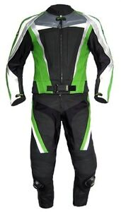 Traje-Cuero-Dos-Partes-Negro-Kawa-Verde-Talla-46-54-58-60-Traje-de-Cuero