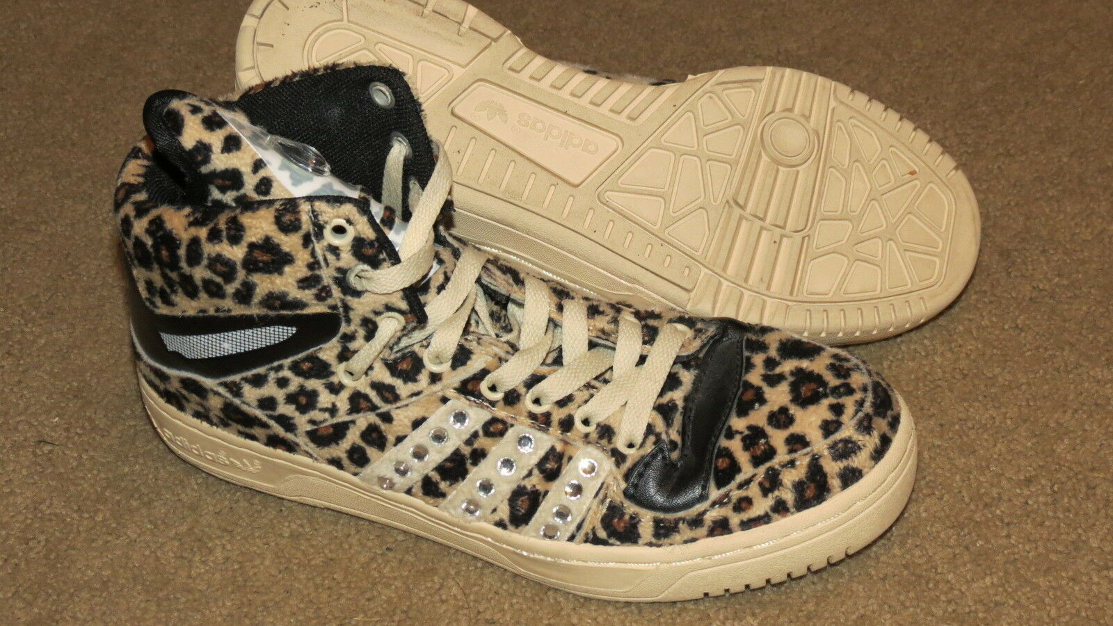 GREAT Adidas Jeremy Scott leopard blinged basketball shoes mens 7.5