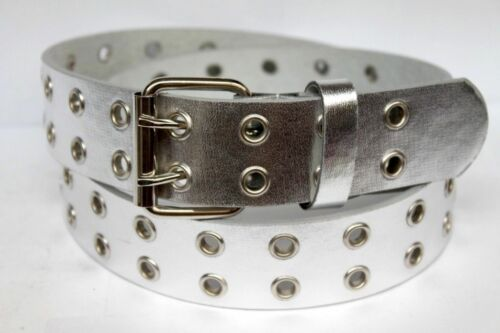 Double Silver Grommet 2 Holes Leather Belt 2-Prong buckle Unisex Mens Womens