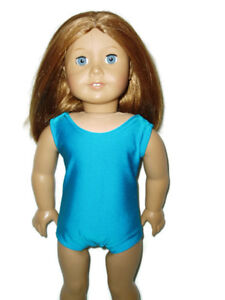 "Tropical Blue Sleeveless Leotard fits American Girl 18"" doll clothes Gymnastics"