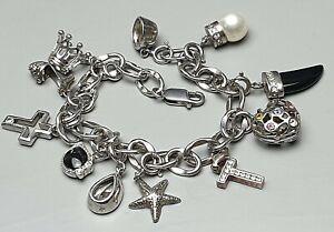 20-5-cm-langes-Bettelarmband-925-Silber-amp-11-Charmanhaenger-925-Silber-A251