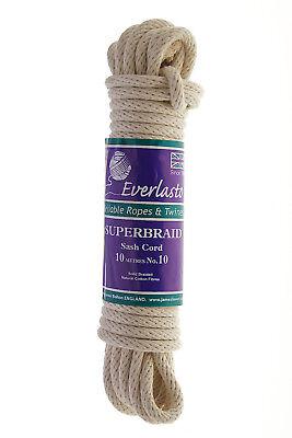 EVERLASTO SUPERBRAID Solid Braided Quality Natural Cotton SASH Cord No.4-4MM 10M Hanks