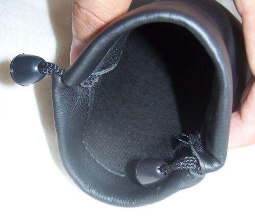 4 Size Black Leather Pouch Bag Storage Earphones Earbud HeadPhone HeadSet Change