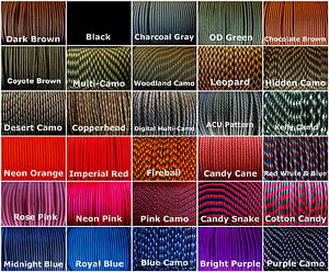 550-paracord-parachute-cord-US-Mil-Spec-Type-III-7-Strand-10ft-20ft-50ft-100ft