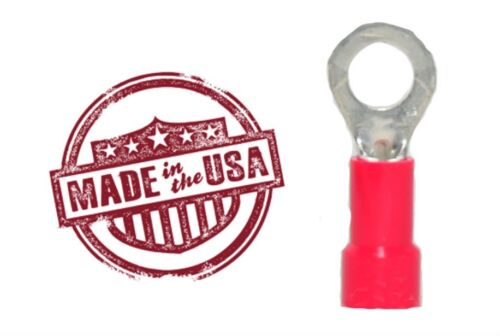 100 Red 18-22 Gauge Vinyl Insulated Ring Terminals #10 Stud Made in the USA