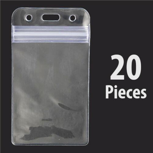 Holder Badge Card Vertical Flexible Vinyl Plastic Support Case Zip Waterproof