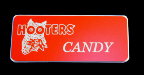 Hooters Girl Uniform Candy Name Tag Halloween Costume Pin Badge Accessory
