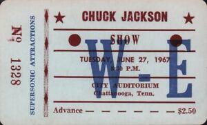 CHUCK-JACKSON-1967-TOUR-UNUSED-CHATTANOOGA-AUDITORIUM-CONCERT-TICKET-NM-2-MNT