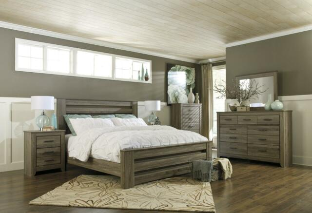 Zelen Collection Rustic Vintage Look Gray Finish 5 Piece King Size Bedroom  Set