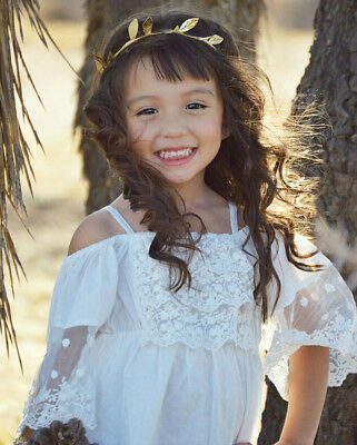 Marina Baby Girl Cotton/&Lace Dress Summer Vintage Off shoulder Top Beachwear 1-4