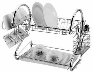 2-Tier-Dish-Drainer-Rack-Storage-Chrome-Tray-Sink-Drying-Wired-Draining-Plate