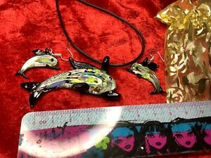 Stunning  Murano Glass Dolphin Earrings and Pendant Necklace