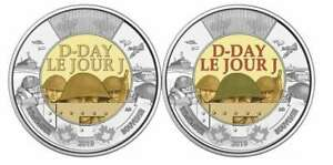 Canada-2019-Set-Of-Two-2-Coins-75th-Anniversary-Of-D-Day-Coloured-And-Plain
