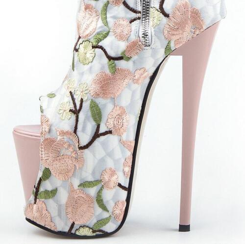 media Zapatos de boda toe para mujer Flores peep Stilettos Botas Plataforma a pierna Fiesta q78APP