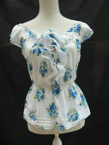 Abercrombie-amp-Fitch-Blanc-Floral-Gypsy-A-Mancherons-Top-Label-S-taille-10-12