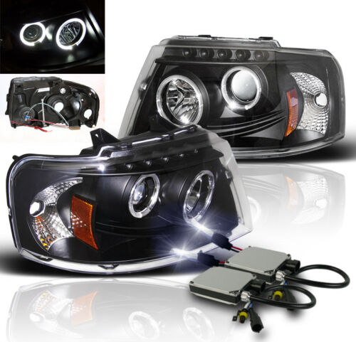 2003-2006 FORD EXPEDITION PROJECTOR DRL HALO HEADLIGHT BLACK LAMP+10000K HID NEW
