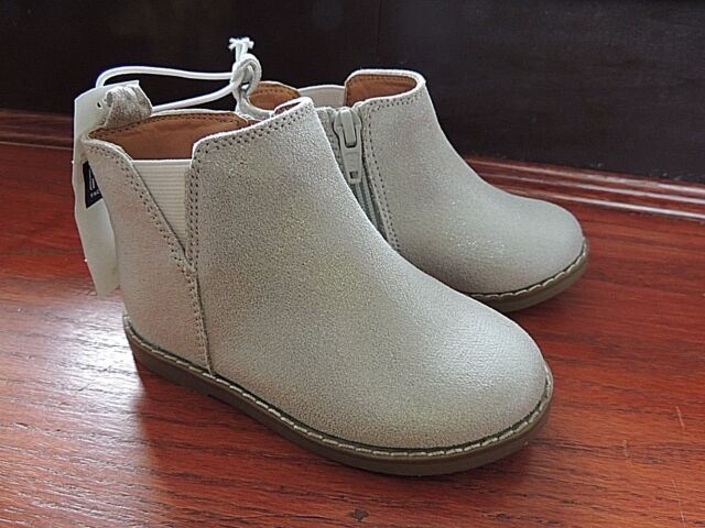 Toddler Girls Shoe Size 7 * BABY GAP *  Silver Sparkle Zip Ankle Boots Shoes NWT