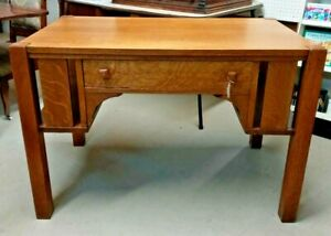 Mission-Oak-Style-Library-Desk-Table-Thick-Heavy
