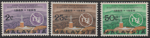 (20)MALAYSIA 1965 I.T.U. CENTENARY SET 3V FRESH MNH. CAT RM 21