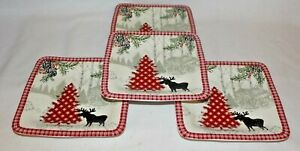 222-Fifth-Bridgeton-Lodge-Moose-Red-Christmas-Tree-Porcelain-Four-Salad-Plates