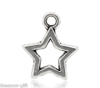 50 Gift Silver Tone Charms Pendants 15x12mm
