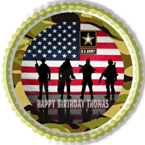 Decor Edible Cake Topper OR Cupcake Topper US Army