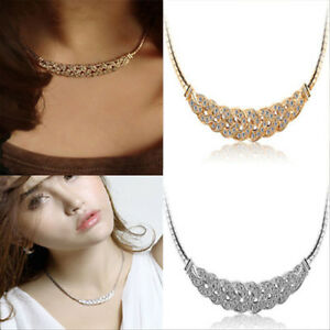Fashion-Women-Pendant-Chain-Crystal-Choker-Chunky-Statement-Bib-Charm-Necklace