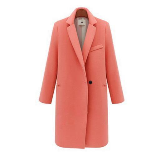 Women/'s Loose Lapel Wool Blend Winter Trench Coat Korean Outwear Long Sleeve