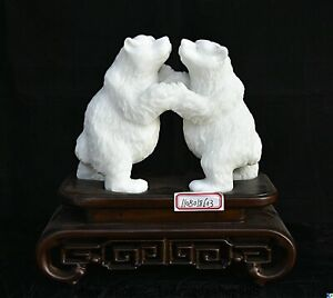 """11,2 """"Chinois Naturel Xiu Jade Feng Shui 2 Statue D'animal D'ours Polaire"""