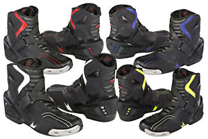 Mens-Negro-De-Cuero-Botas-Motocicleta-Moto-cortas-al-Tobillo-Zapatos-De-Carreras-Deporte-CE