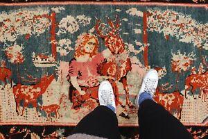 Antique-Handmade-Vintage-Armanian-Karabagh-Etnic-Tribal-Carpet-Area-Rug-8-039-1x4-039-9-034