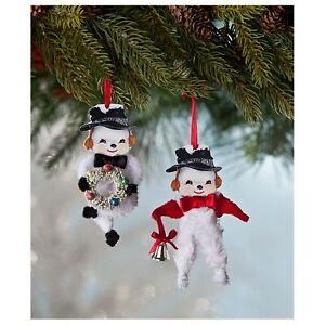 Set-2-Bethany-Lowe-Retro-Style-Chenille-Snowman-Christmas-Tree-Ornaments-Decor