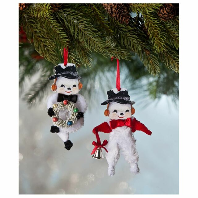 Does Lowes Sell Christmas Trees: Set/2 Retro Vintage Style Snowman Ornaments Caroling Bird
