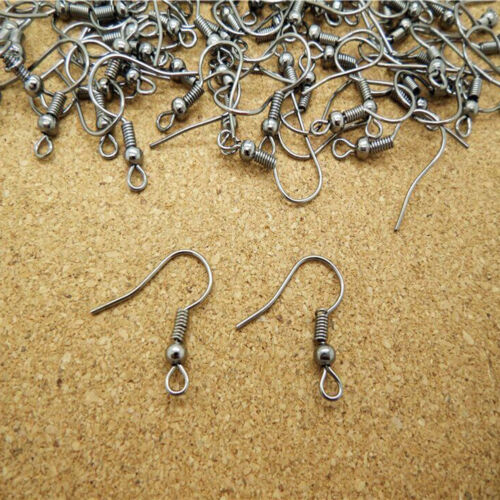 BL/_ 100Pcs//500Pcs Earring Hook Coil Ear Wires for DIY Jewelry Making Findings St