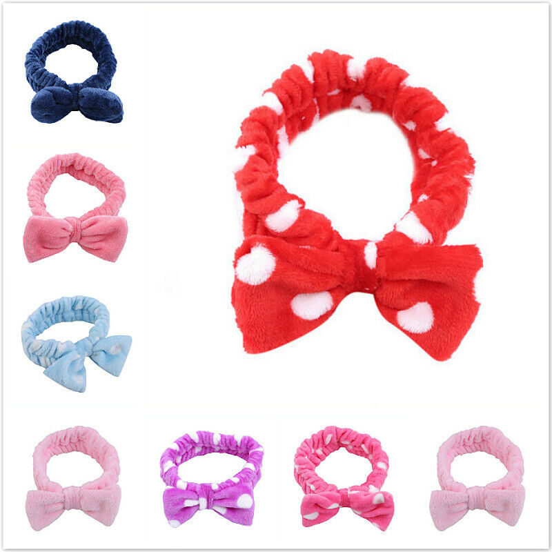 Apprehensive Coral Fleece Big Bow Dot Stripe Towel Hair Band Wrap Bath Make Up Headband One Utmost In Convenience