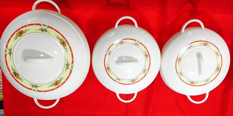 Ambiente Medium Größe Food Warmer 3pcs Hot Hot Hot Pot Set of Insulated Casseroles Weiß be72a8