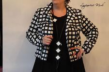 ♦ Chalona edle Kurz*Jacke im Jeans*Style Gr. 44,46,48 Karo, schwarz-weiß ♦