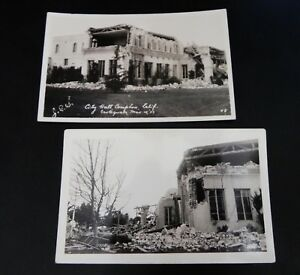 City Hall Compton California CA RPPC Real Photo Earthquake Lot Views Mar 10 1933