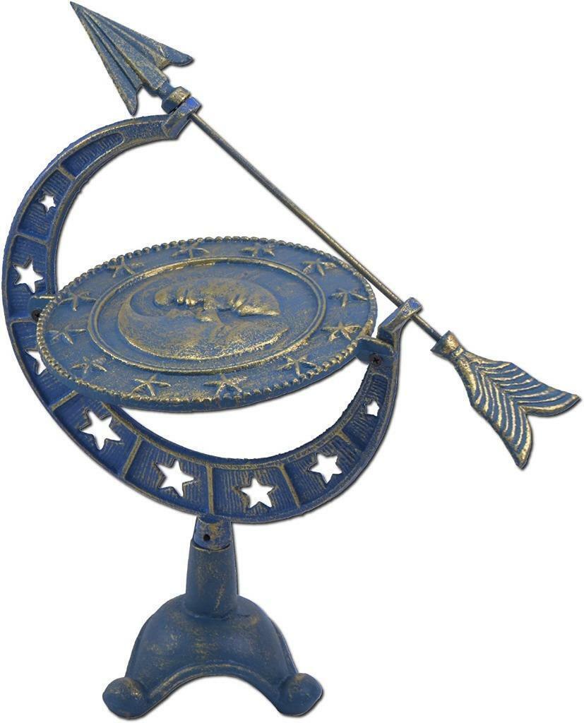Cast Iron Moon & Stars Themed Tabletop Sundial Lawn Garden Sun Dials Gift
