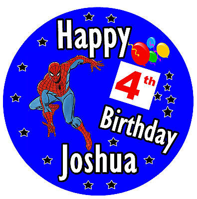 SPIDERMAN SIZE 77mm ANY NAME AND AGE BIRTHDAY BADGE NEW PERSONALISED