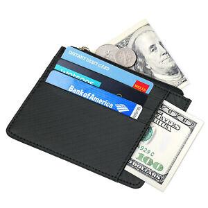 Anti-theft-Brush-Premium-Leather-Card-Case-Wallet-Carbon-Fiber-Black-Gift-G9C