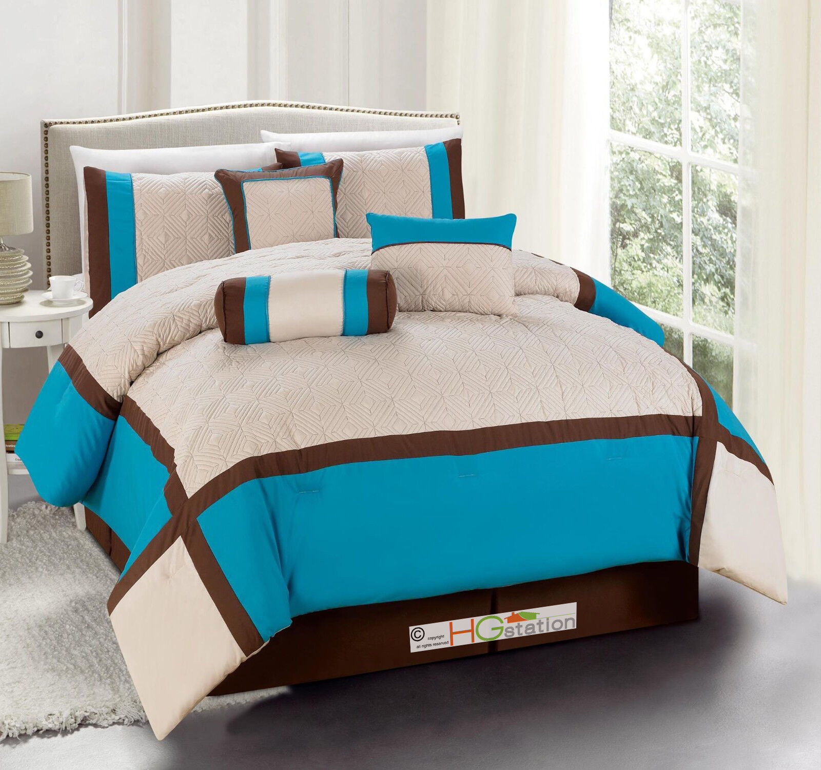 11 Quilted Diamond Square Patchwork Comforter Curtain Set Turquoise Brown Queen