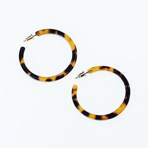 Earrings-Creole-Ring-Color-Tortoiseshell-Tortoise-Light-Simple-4cm-M2