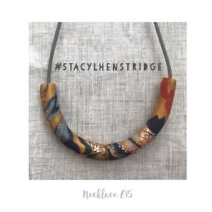 Handmade Polymer Clay Necklace Navy Copper Yellow White stacylhenstridge
