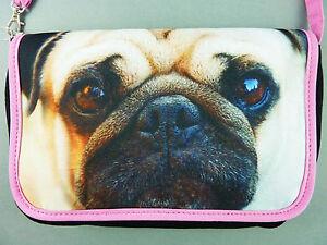 NEU-Mops-Damen-Tasche-Handtasche-Schultertasche-Clutch-Hund-Foto-Print-Primark