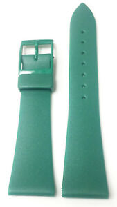 VINTAGE-20MM-GREEN-GENUINE-PLASTIC-RUBBER-STRAP-BAND-NOS-GREEN-BUCKLE